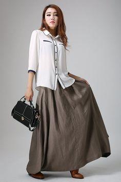 Long linen skirt maxi skirt for women brown skirt pleated  d83231aaab2