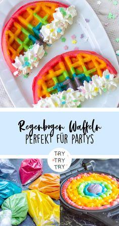 Rainbow waffles for birthdays and parties- Regenbogen Waffeln für Geburtstage und Partys Rainbow waffles for birthdays and parties - Dessert Party, Party Snacks, Cute Food, Yummy Food, Baby Food Recipes, Dessert Recipes, Rainbow Waffles, Tumblr Food, Rainbow Food