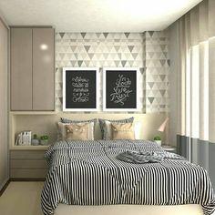 Estampas geométricas continuam em alta na decoração e deixam o ambiente com cara de moderninho. Eu mesma adoro! Quem também curte?  Pinterest #blogmeuminiape #meuminiape #apartamentospequenos #quarto #quartocasal #inspiração #estampasgeometricas #decoração