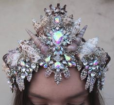 Chelsea's crowns and creations ( Mermaid Headpiece, Mermaid Crown, Shell Crowns, Fantasy Hair, Tiaras And Crowns, Cool Hair Color, Try On, Flower Crown, Chelsea