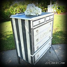 Black and white striped tallboy dresser. $299.00, via Etsy.