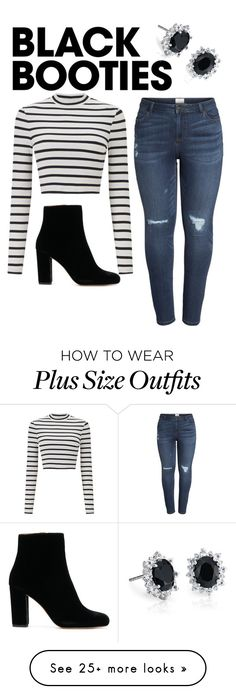 """Black Booties"" by vanrensselaerashley on Polyvore featuring Miss Selfridge, Caslon, Blue Nile and plus size clothing"