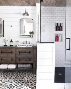 Rustic modern farmhouse, DIY vanity, white and wood, minimalist style