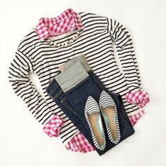 Shirt | Striped Shirt | Necklace Jeans (30% off) |Shoes (similar here \ here) *I did see that Old Navy had some flats just like this in 4 colors in store, but