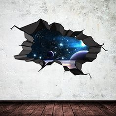Galaxy Wall Decal Outer Space Sticker Mural Outer Space Cracked - Wall decals carscartoon cars break through wall art mural decor sticker cracked