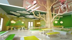 Playful Kindergarten children cloud tree nature classroom interior
