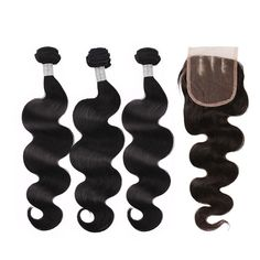 【Grade 6A】Virgin Indian Remy Hair Bodywave Hair Extensions 3 Bundles With 1pcs Three Part Lace Top Closure Natural Black 350g
