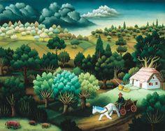"Croatian Art   Ivan Generalic, Master Naive Artist ~ ""Horse with a Wagon"" ."