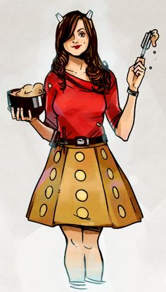 Souffle Girl <<< I love the blending in of the Dalek references like the skirt and the whisk<<<< Me Too! Totally making a cosplay like this. Doctor Who, Serie Doctor, Hello Sweetie, Torchwood, David Tennant, Dr Who, Superwholock, Mad Men, Sherlock