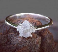 Natural rough diamond ring #forrestwedding #woodsywedding #bohowedding