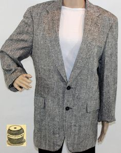 Black and white linen herringbone blazer with by Bellafatima