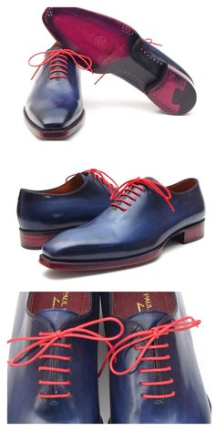 PAUL PARKMAN MEN'S GOODYEAR WELTED WHOLECUT OXFORDS NAVY BLUE HAND-PAINTED