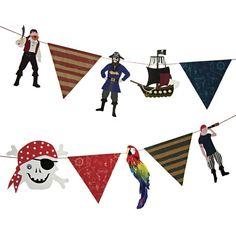 Party Deko Piratengirlande mit tollen Flaggen 3,66 x 0,20 m 1 St.