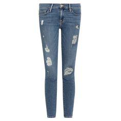 Frame Denim Le Skinny de Jeanne Distressed Jeans ($363) ❤ liked on Polyvore