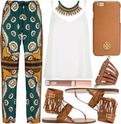 street style by sisaez featuring lips makeup ❤ liked on PolyvoreRiver Island tall shirt / Valentino wide leg trousers, $1,485 / Valentino thong sandals / Leather jewelry / Zara necklace / Tory Burch tech accessory / Charlotte Tilbury lips makeup