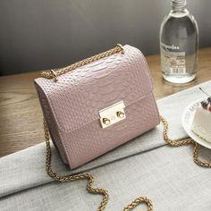 Womens Trendy Croc Gold Chain Sling Handbag