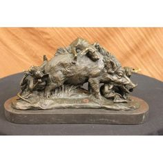ON SALE !!! Signed Bronze Marble Wild Boar Hunting Dogs Animal Sculpture Figure Art Figurine...The Beholder Comes Across A Tragic Scene, A Battle Of Life And Death, Involving A Defeated Wild Boar And Three Hunting Dogs, Carrying No Mercy In Their Aggressive Intent. The Ill-Fated Boar Finally Breaks, Sitting Back On It'S Hind Legs. A Defeated Weary Look Takes Hold Of Her Eyes, As A Weak Cry Of Pain And Sorrow Escapes Out Of Her Tusked Mouth; Enveloping The Viewer With The Sadness Of Its Last…