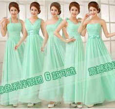 New Arrival Free Shipping six Styles A Line Simple Elegant flowers  Cheap Long Mint Green chiffon  Bridesmaid Dresses 2015