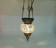 Moroccan lantern mosaic hanging lamp glass chandelier light lampen candle h 203 #Handmade #Moroccan