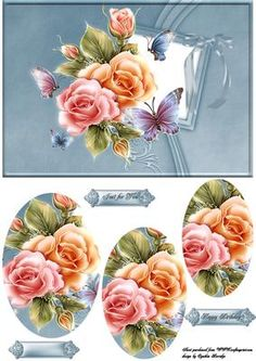 A5 roses and butterflies on Craftsuprint designed by Cynthia Berridge - quick card front with roses and butterflies to pryamage - Now available for download!