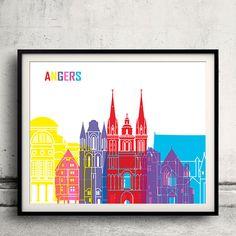 Angers pop art skyline  Fine Art Print Glicee Poster by Paulrommer