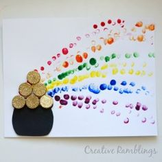 Rainbow Finger Paint St. Patrick's Day Craft