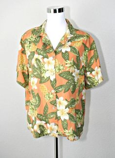 be73d0db0ad Casual or for cruise   resort   vacation   office casual. silk fabric with  pattern of flowers and pineapples.