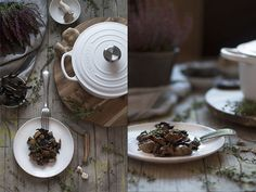 Butifarra con setas y patata morada en cocotte Le Creuset, Table Decorations, Cooking, Pray, Food, Arrows, Gourmet, Potatoes, Appetizers