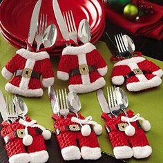 Zogin Lot De 6pcs Porte Couverts Serviette Couteaux Fourchette Cuillère En  Forme De Costume Père