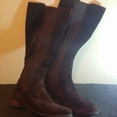 Dark brown suede Cole Haan. (nike air)riding boots Worn but in excellent condition Cole Haan Shoes Combat & Moto Boots