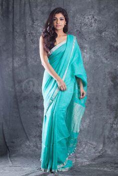 Handwoven Organic Sea Green Linen Saree
