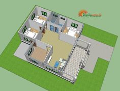 A single storey house is affordable. It also offers more flexibility as it can combine spaces that serve multiple functions. Simple Bungalow House Designs, Modern Bungalow House Design, Duplex House Design, Two Story House Design, Small House Design, Four Bedroom House Plans, 3d Foto, Affordable House Plans, Free House Plans