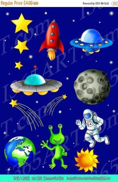 OFF Space Clipart Space clip art Science Scrapbooking Astronaut Rocket Flying Saucer Ali Sistema Solar, Space Crafts For Kids, Space Preschool, Space Kids, Space Party, Space Theme, Ufo, Outer Space Facts, Cliparts Free