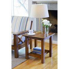 Handy Living Baltimore Cherry Wood End Table with Slatted Shelf (Set of 2) (End Table), Natural