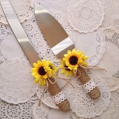 Wedding Cake Server and Knife Set / Sunflower by CraftsbyBeba