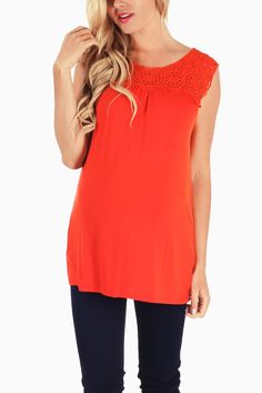 Red-Orange-Crochet-Top-Maternity-Tank-Top #maternity #fashion
