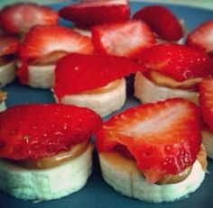 Banana, almond butter/pb and strawberries.