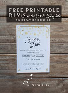 FREE Modern Gold DIY Save the Date Template. Download this DIY wedding save the date and then print as many copies as you need!   ahandcraftedwedding.com