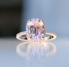 2.75ct Cushion raspberry peach champagne sapphire 14k rose gold diamondring engagement ring