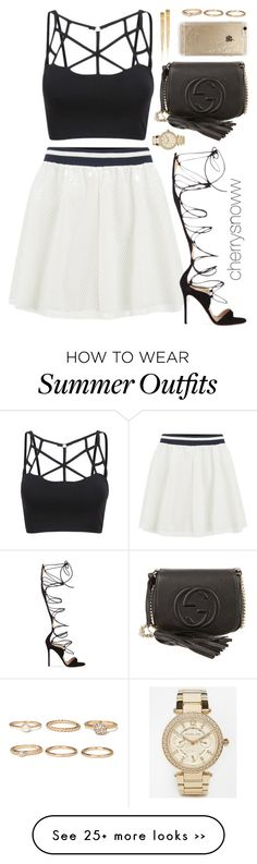 """Classy chic swag summer party outfit"" by cherrysnoww on Polyvore featuring ONLY, Gucci, Gianvito Rossi, Michael Kors, Rifle Paper Co and Forever 21"