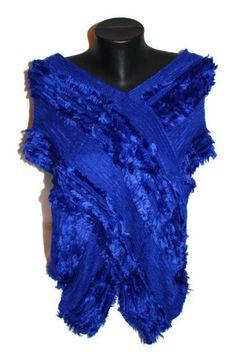 SALE Blue Tunic Poncho Chunky Poncho Cozy Outwear by CRAZYSPIRIT, $10.00