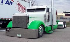 White and green bagged custom Freightliner