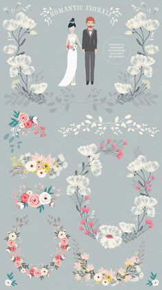 Personalised Portrait Creator by Lisa Glanz on @creativemarket - Great for wedding invites too!
