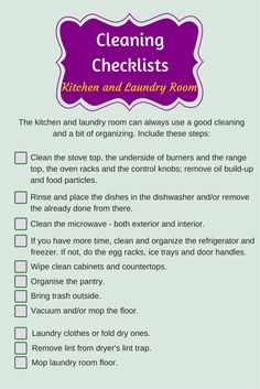 Cleaning checklist – Kitchen and Laundry Room http://www.housecleaning-london.co.uk/blog/cleaning-checklist-kitchen-and-laundry-room/