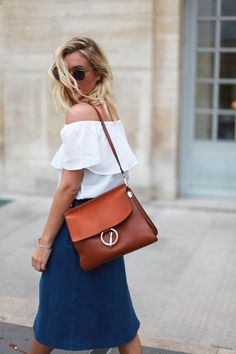 &otherstories skirt - asos off shoulder top - Céline sunglasses - Chloe Faye bag http://FashionCognoscente.blogspot.com