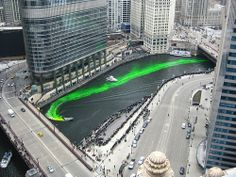 Dying the Chicago River Green for St Patty's Day