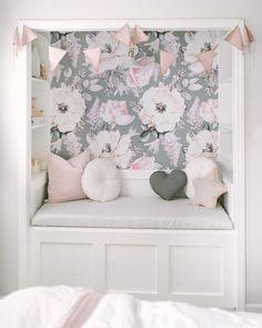 DIY Closet reading nook with floral wallpaper. Nursery Wallpaper, Home Wallpaper, Adhesive Wallpaper, Wallpaper For Girls Bedroom, Bedroom Girls, Toddler Girl Bedrooms, Toddler Girls, Nursery Decor, Home Decor