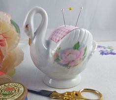 Vintage china swan pin cushion - china pincushion, sewing accessory, sewing gift, gift for mum, mother's day, gift for sewer, vintage swan