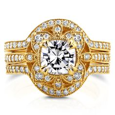 Annello 14k Yellow Gold Moissanite and 5/8ct TDW Diamond 3-Piece Floral Antique Bridal Set (G-H, I1-I2)