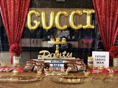 Gucci / Baby Shower A Gucci Shower! - Gucci Baby - Ideas of Gucci Baby - Donesha B's Baby Shower / Gucci A Gucci Shower! at Catch My Party 14 Birthday Party Ideas, Birthday Parties, Themed Parties, Birthday Bash, 14th Birthday, Baby First Birthday, Shower Party, Baby Shower Parties, Louis Vuitton Cake